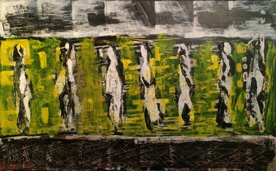 Aligned, 50 x 80 cm; Acrylic/Silica on Canvas; Sojic, 2016