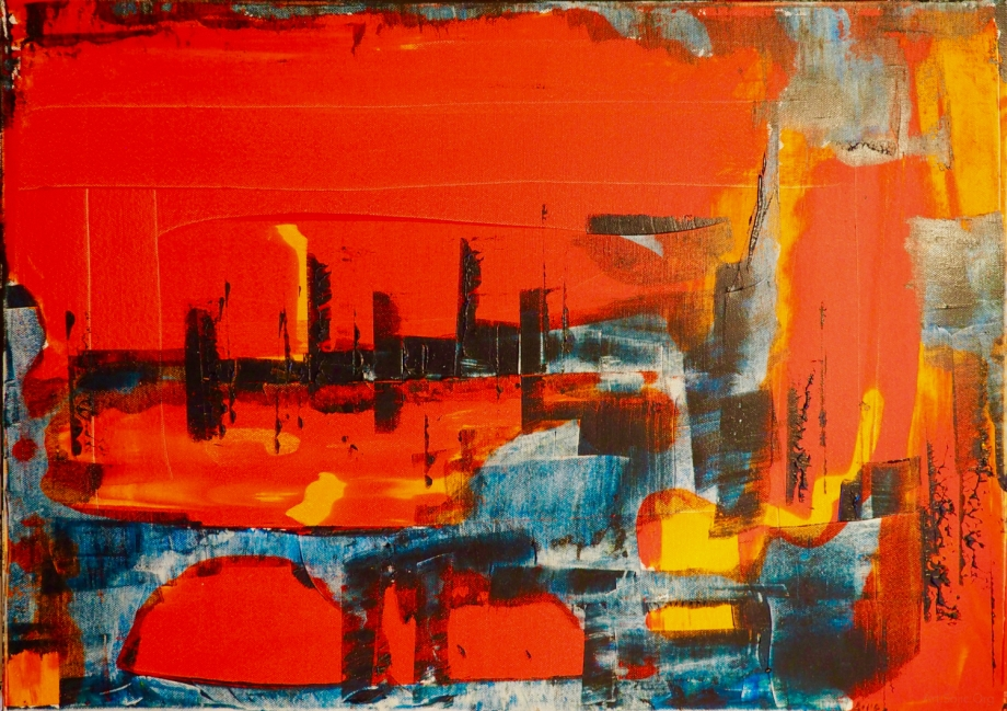 The metropolitan city of Milan, 50 x 70 cm; Acrylic medium and Pigments on Canvas; Sojic, 2017