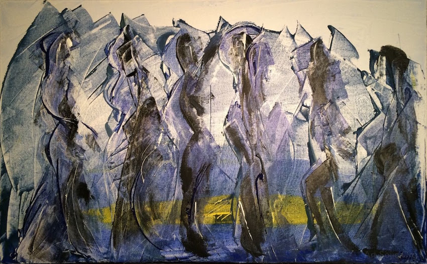 Polar Crust; 50x80cm Acrylic, Gesso, Silica on Canvas; Sojic, 2016